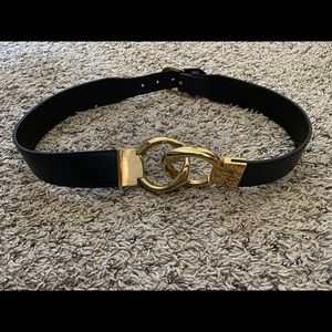 MaxMara dark navy blue leather belt with gold